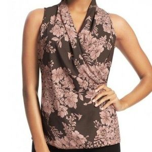 CAbi Layer Floral Faux Wrap Top Sleeveless Blouse